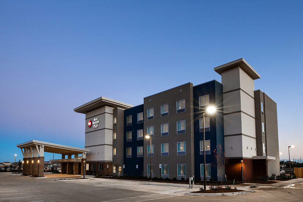 A picture of the newly constructed Best Western Plus Lawrence Hotel, located in Lawrence, Kansas.